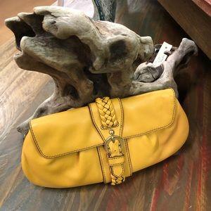 Banana Republic Yellow Leather Braided Clutch Bag